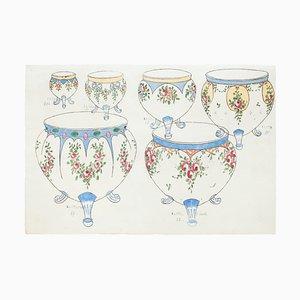 Unknown, Pottery, Original Aquarell und Tusche Zeichnung, 19. Jahrhundert