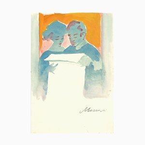 Mino Maccari , Couple Reading , Original Drawing by Mino Maccari , 1970