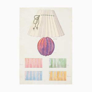 Unknown , Table lamp , Original Watercolor and Ink Drawing , 19th Century