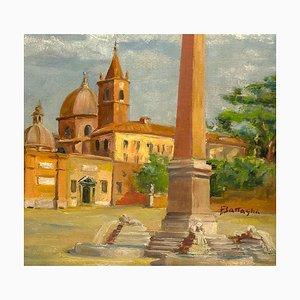 Alessandro Battaglia , Piazza del Popolo, Rome , Oil on Cardboard , Early 20th Century