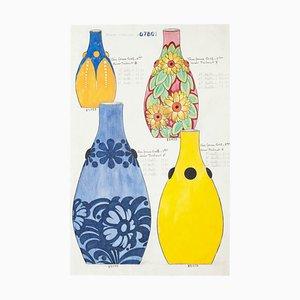 Unbekannte, Farbige Vasen, Original Aquarell und Tusche Zeichnung, 19. Jahrhundert