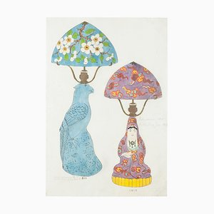 Unknown , Oriental Lamps , Original Watercolor and Ink Drawing , 19th Century