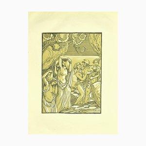 Lithographie Originale de Ferdinand Bac, Women and Amphorae par F. Bac, 1922