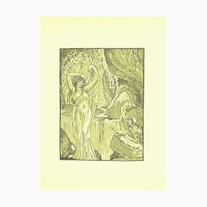 Ferdinand Bac , The Vestal in the Waterfall , Original Lithograph by F. Bac , 1922
