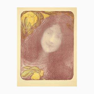 Edmond Aman,Jean , Under the Flowers , Original Lithograph by E. Aman,Jean , 1898