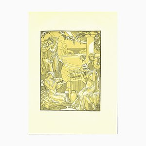 Ferdinand Bac, The Weaving, Original Lithographie von F. Bac, 1922