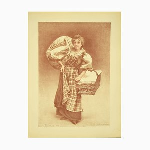 Flix Camille Bellanger , The Laundress , Original Lithograph by C. Bellanger , 1898