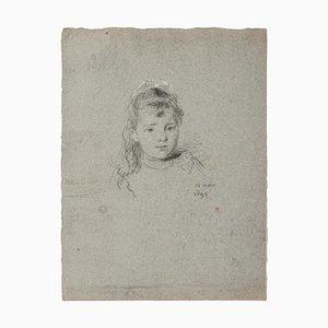 Unknown, Portrait, Original Bleistiftzeichnung, 1895