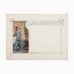 Unknown , Glassblower , Original Mixed Media Drawing , Early 20th Century