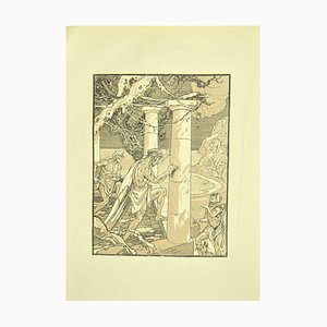 Ferdinand Bac , The Men and the Column , Original Lithograph by F. Bac , 1922