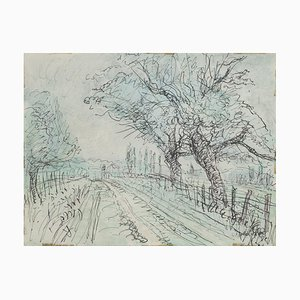 Jean,Raymond Delpech , Landscape , Original Ink and Watercolor Drawing by Jean Delpech , 1960s