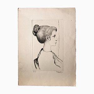 Unknown , Portrait , Original Etching , Mid,20th Century