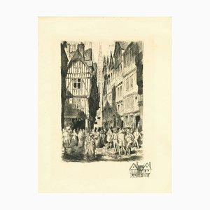 Unknown , Antwerp , Original Etching , Early 20th Century