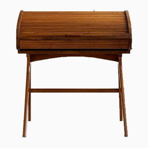 Mid-Century Modern Desk with Roll-Top in Walnut Veneer, 1950s