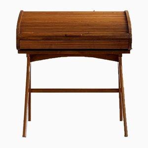 Mid-Century Modern Schreibtisch mit Walnuss Furnier Rolltür, 1950er
