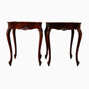 Antique Rosewood Veneer & Marquetry Inlaid Side Tables, Set of 2