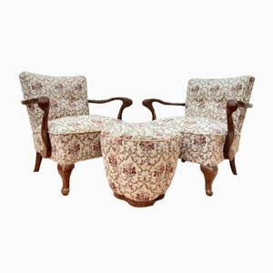 Art Nouveau Armchairs with Footstool, 1920s, Set of 3