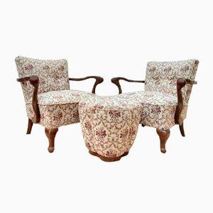 Jugendstil Sessel mit Fußhocker, 1920er, 3er Set