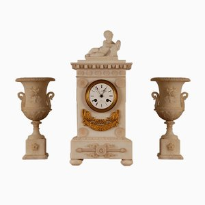 Louis XVI French Neoclassical Alabaster Clock & Vases, Set of 3