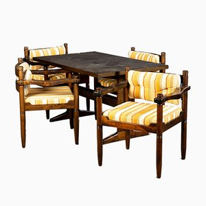 Scandinavian Style Solid Wood Dining Table & Chairs Set, 1960s, Set of 5