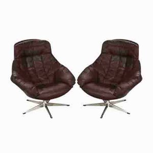 Brown Buttoned Leather Swivel Chairs by H.W. Klein, 1970s, Set of 2