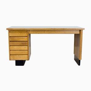English Art Deco Oak and Black Formica Desk