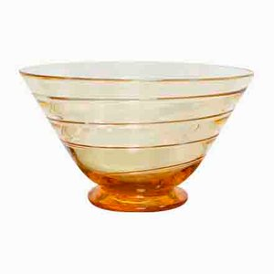 Art Deco Amber Ribbon Trail Glass Bowl by Barnaby Powell for Whitefriars, 1920s