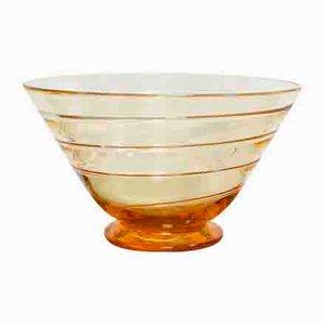 Bernsteinfarbene Art Deco Ribbon Glas Schale von Barnaby Powell für Whitefriars, 1920er