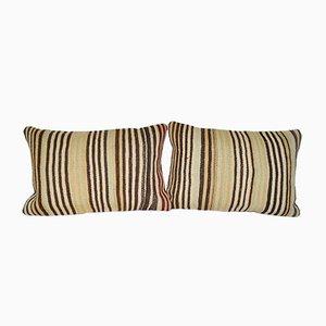 Striped Kilim Lumbar Cushion Cover, Set of 2