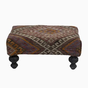 Small Turkish Kilim Footstool