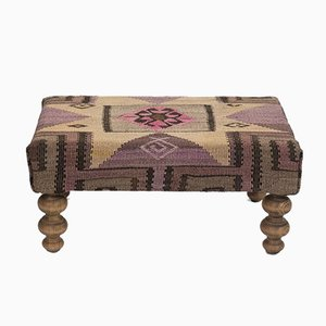Turkish Kilim Footstool from Vintage Pillow Store Contemporary