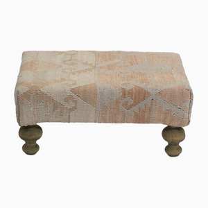 Vintage Kilim Upholstered Footstool from Vintage Pillow Store Contemporary