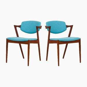Chaises Modèle 42 en Tissu d'Ameublement Turquoises par Kai Kristiansen pour Schou Andersen, 1960s, Set de 2