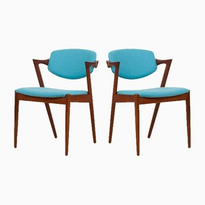 Teak & Turquoise Upholstery Model 42 Chairs by Kai Kristiansen for Schou Andersen, 1960s, Set of 2