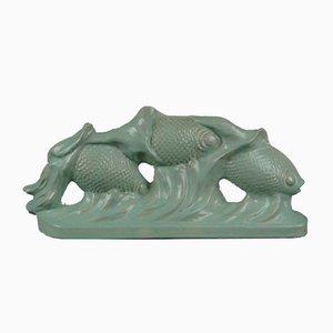 Schwimmende Fisch Art Deco Keramik, 1920er