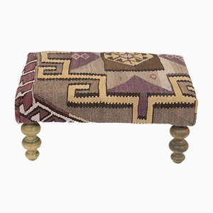 Small Kilim Ottoman Footstool with Wood Legs from Vintage Pillow Store Contemporary