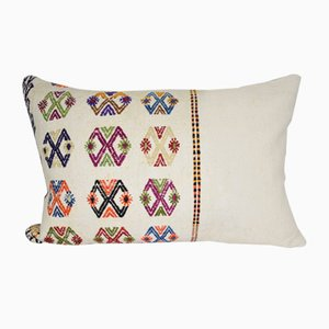 White Turkish Kilim Pillow Cover