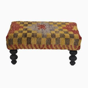 Turkish Checkered Tulu Footstool from Vintage Pillow Store Contemporary