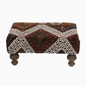 Kilim Covered Footstool from Vintage Pillow Store Contemporary