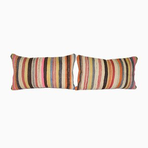 Colorful Turkish Kilim Pillow Cover, Set of 2