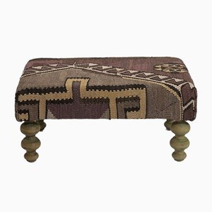 Kilim Upholstered Footstool from Vintage Pillow Store Contemporary