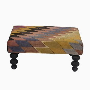 Tribal Turkish Kilim Footstool from Vintage Pillow Store Contemporary
