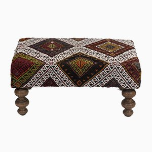Turkish Hand Woven Kilim Footstool from Vintage Pillow Store Contemporary