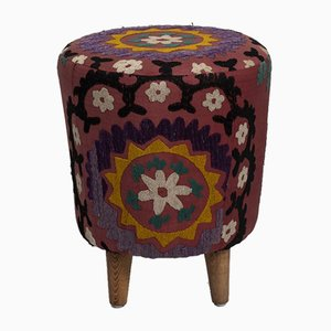 Modern Handwoven Uzbek Suzani Footstool from Vintage Pillow Store Contemporary