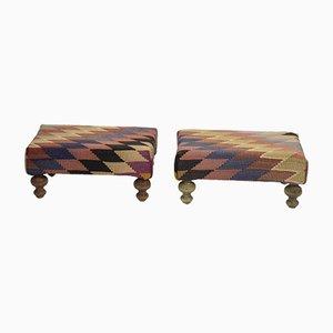 Ottomane Kilim con gambe in legno di Vintage Pillow Store Contemporary, set di 2
