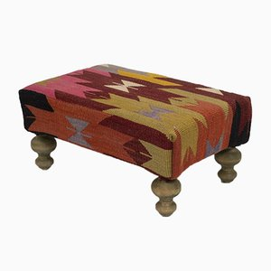 Vintage Turkish Kilim Footstool from Vintage Pillow Store Contemporary