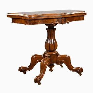 Viktorianischer Serpentin Spieltisch aus Wurzel- & Nussholz