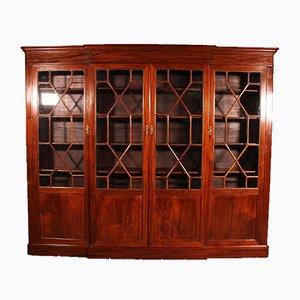Four Door Breakfront Bookcase in Mahogany, 19th-Century