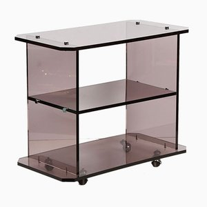 Vintage Smoked Lucite Trolley in the style of Willy Rizzo, 1980s