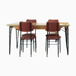 Dining Chairs & Table Set, 1970s, Set of 5